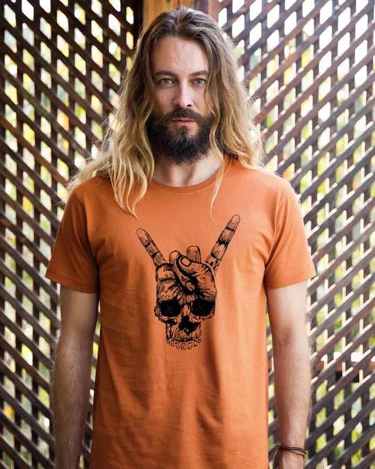Shop Skull Horn Hand Half Sleeve T-Shirt-Back
