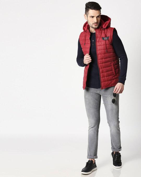 Shop Skull Wing Logo Sleeveless Puffer Jacket with Detachable Hood-Full