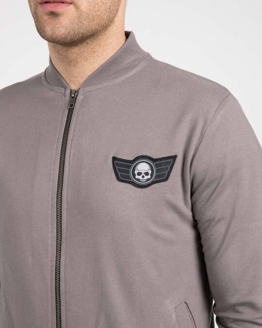 Shop Skull Wings Badge Zipper Bomber Jacket
