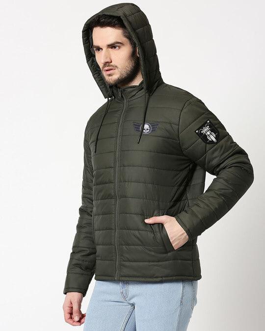 Shop Skull Wings Logo & Motorbike Logo Puffer Jacket with Detachable Hood-Back