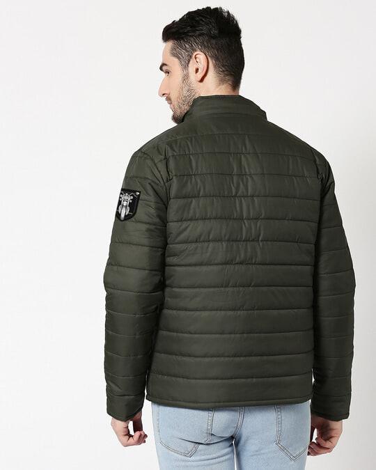 Shop Skull Wings Logo & Motorbike Logo Puffer Jacket with Detachable Hood-Design