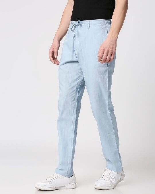 Shop Sky Blue Casual Cotton Pants-Design