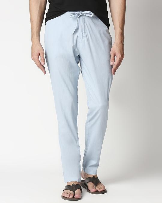 Shop Sky Blue Casual Cotton Trouser-Front
