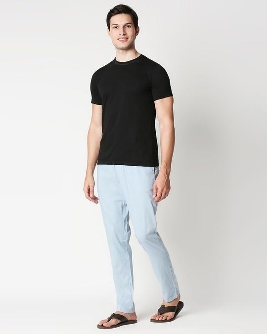 Shop Sky Blue Casual Cotton Trouser