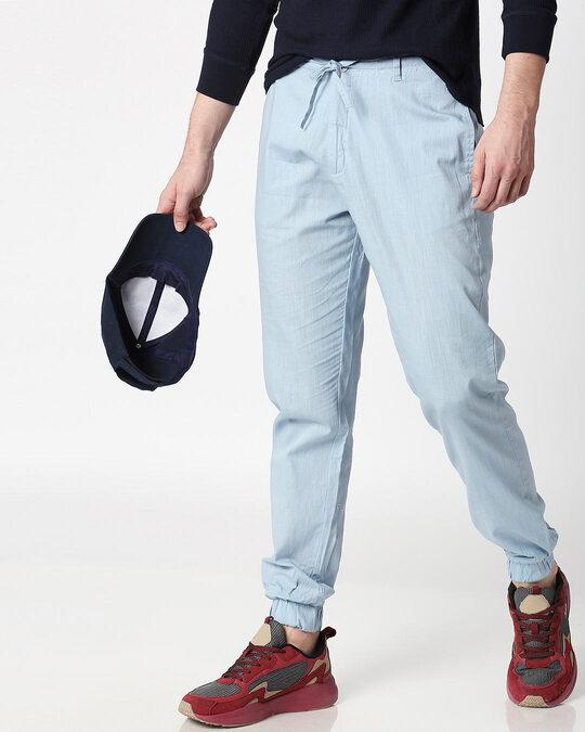 Shop Sky Blue Cotton Jogger Pants-Front