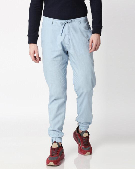 Shop Sky Blue Cotton Jogger Pants-Back