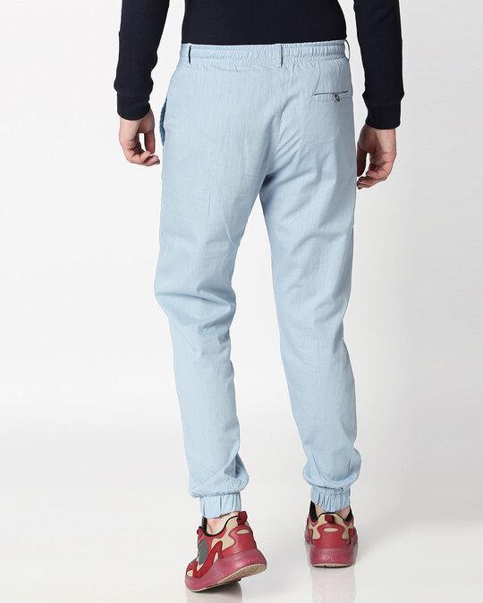 Shop Sky Blue Cotton Jogger Pants-Full