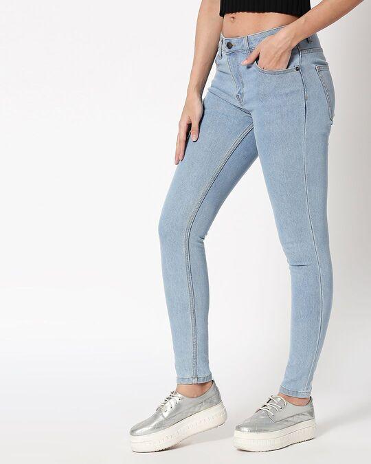 Shop Sky Blue Mid Rise Stretchable Women's Jeans-Design