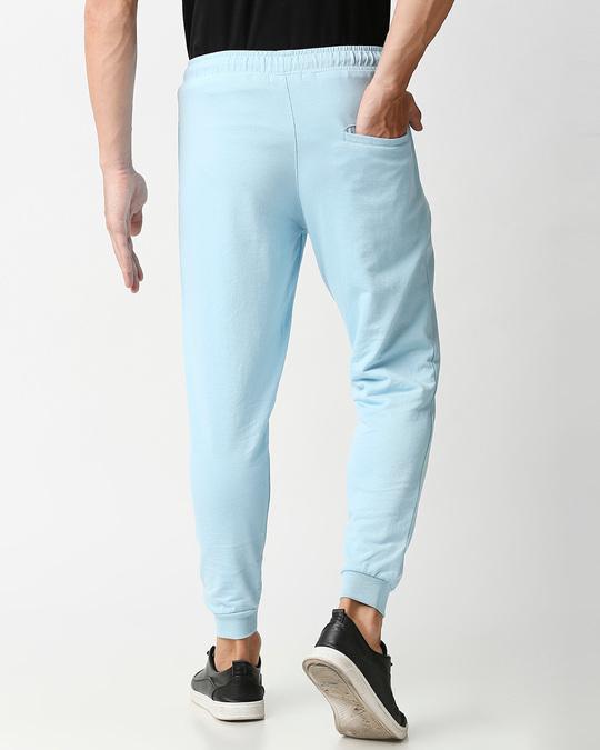 Shop Sky Blue Casual Jogger Pants With Zipper-Design