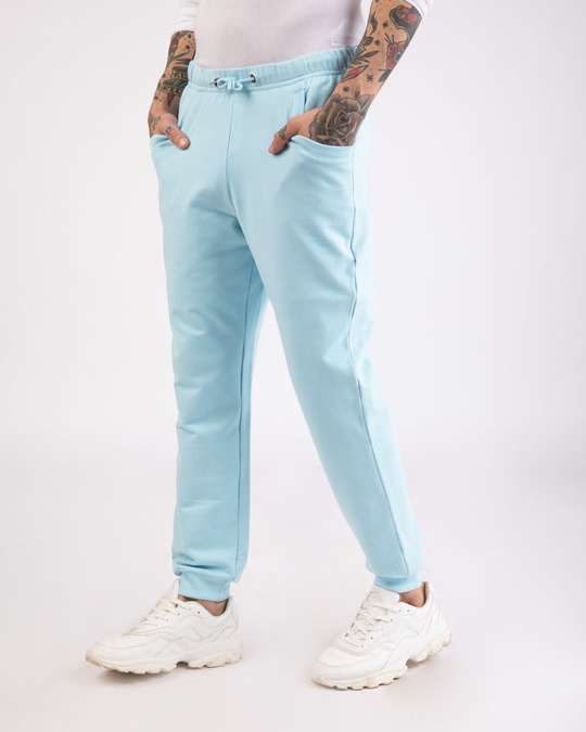 Shop Sky Blue Round Pocket Joggers Pants-Back