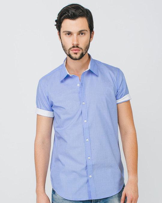 Shop Sky Blue Half Sleeve Shirt-Front