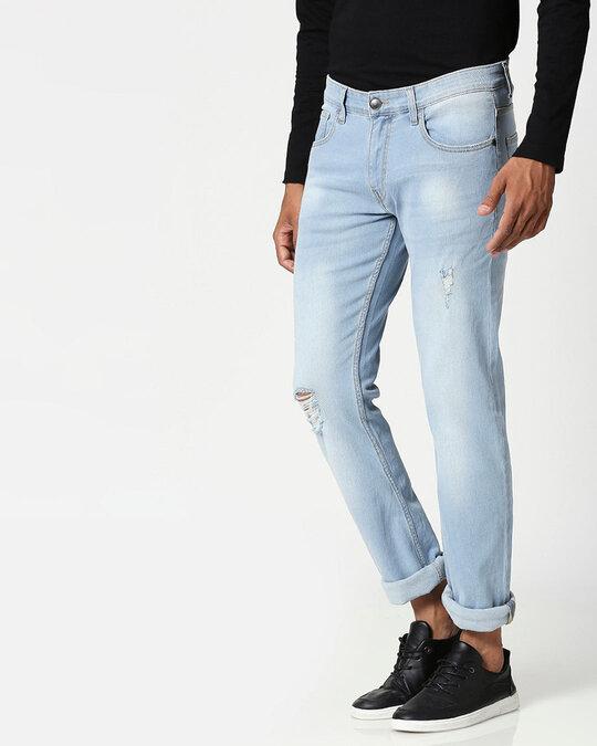 Shop Slate Blue Distressed Mid Rise Stretchable Men's Jeans-Back