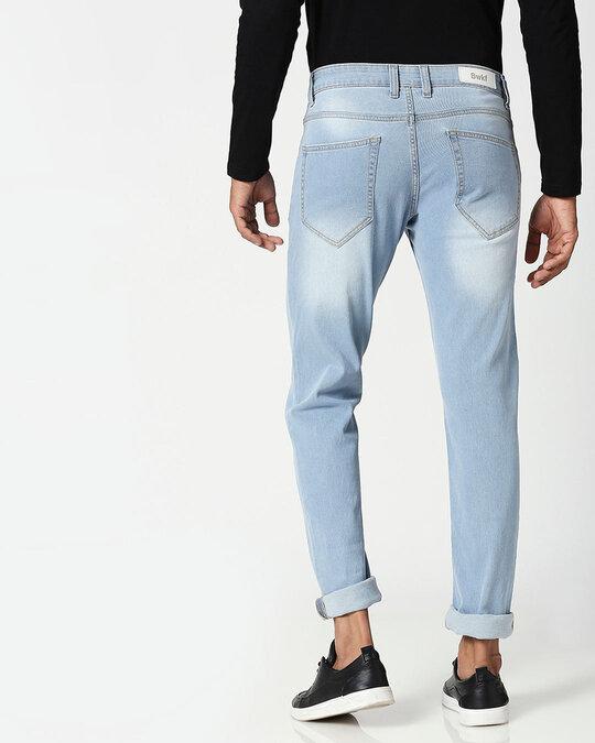 Shop Slate Blue Distressed Mid Rise Stretchable Men's Jeans-Design