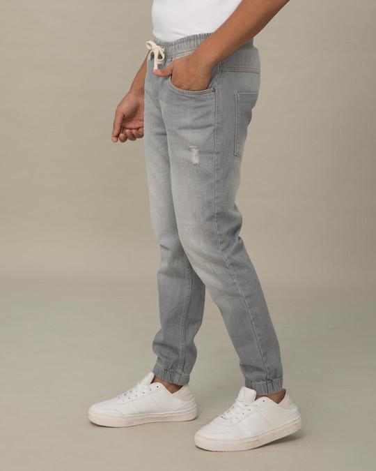 Shop Slate Grey Plain Denim Joggers-Back