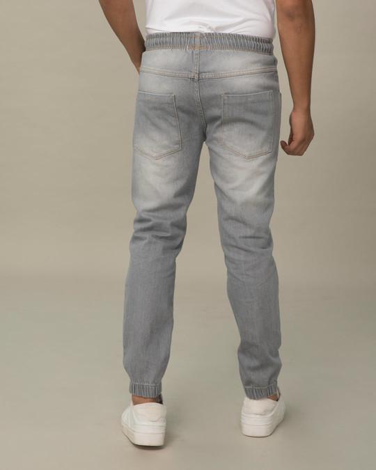 Shop Slate Grey Plain Denim Joggers-Full