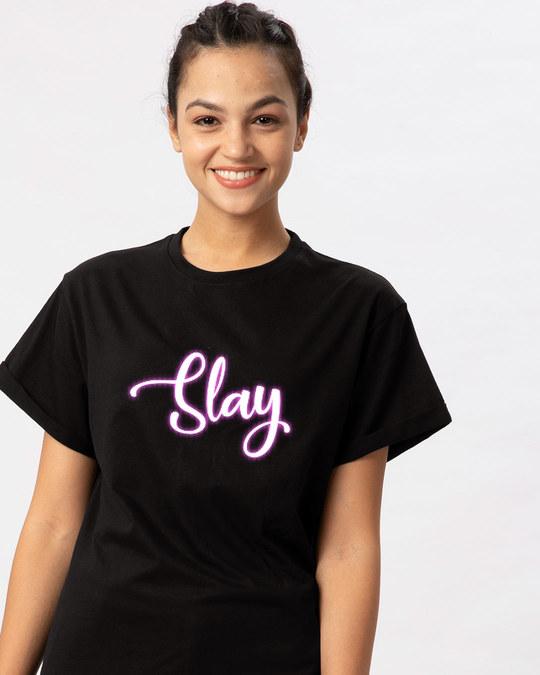 Shop Slay Neon Boyfriend T-Shirt-Front