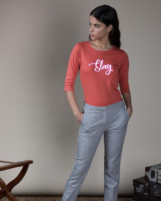Shop Slay Neon Round Neck 3/4th Sleeve T-Shirt-Design