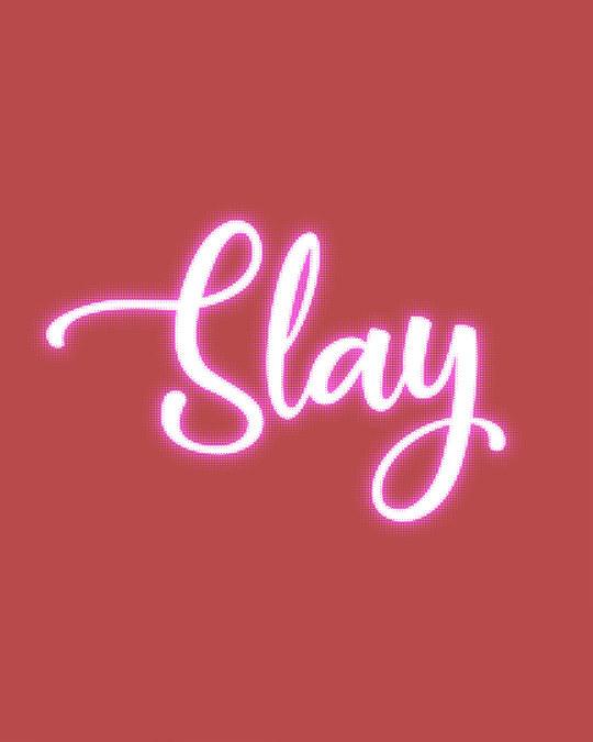 Shop Slay Neon Round Neck 3/4th Sleeve T-Shirt-Full