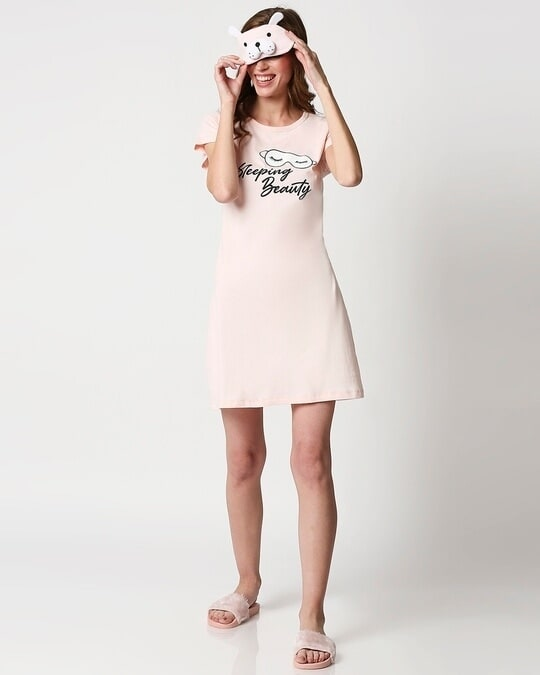 Shop Women's Printed Pink T-shirt Night Dress