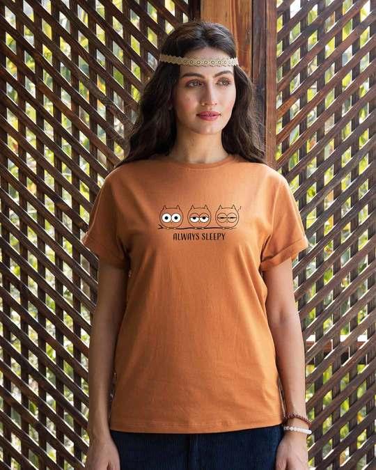 Shop Sleepy Always Owl Boyfriend T-Shirt-Front
