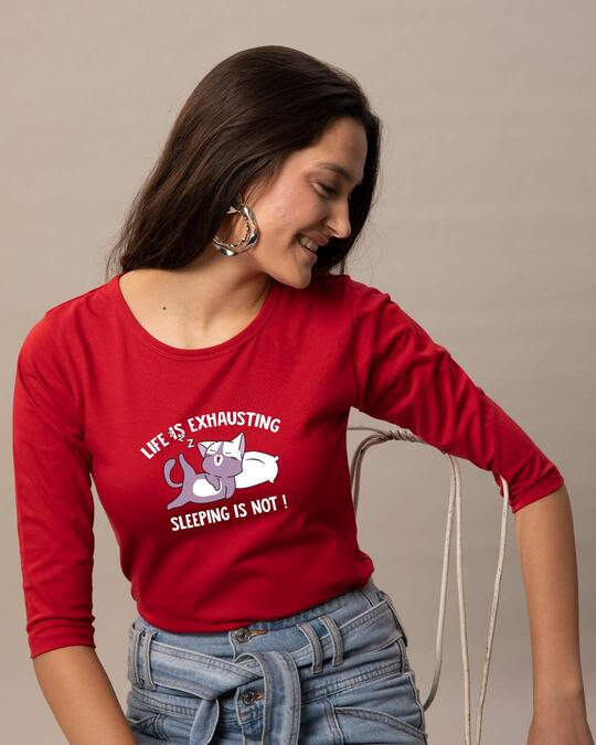 Shop Sleepy Cat Round Neck 3/4 Sleeve T-Shirts Bold Red-Front