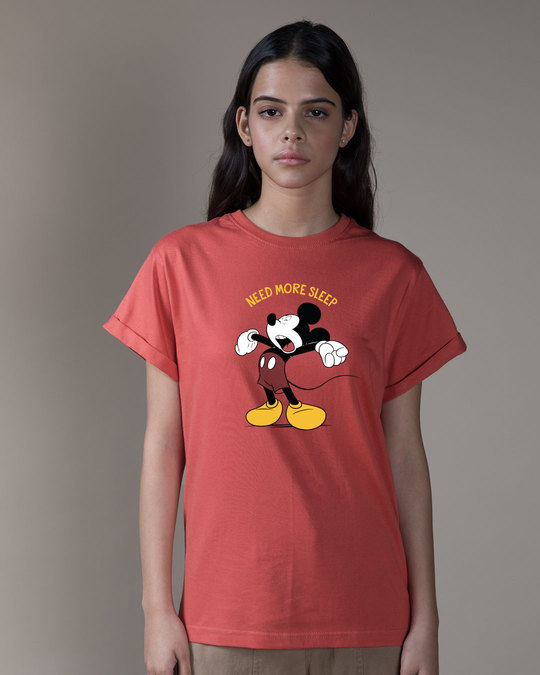 Shop Sleepy Mickey Boyfriend T-Shirt (DL)-Front