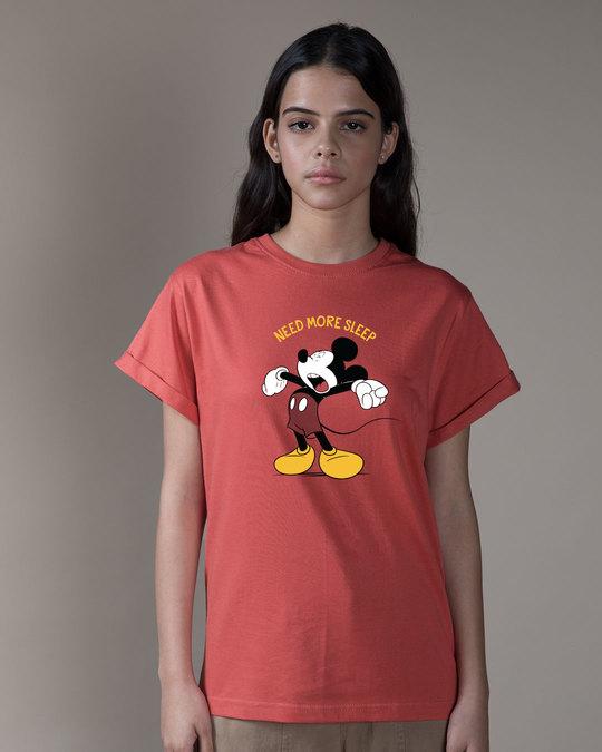 Shop Sleepy Mickey Boyfriend T-Shirt (DL)-Front