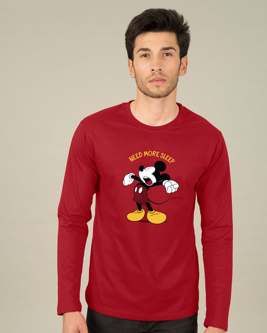 Buy Sleepy Mickey (DL) Bold Red Printed Full Sleeve T-Shirt For Men
