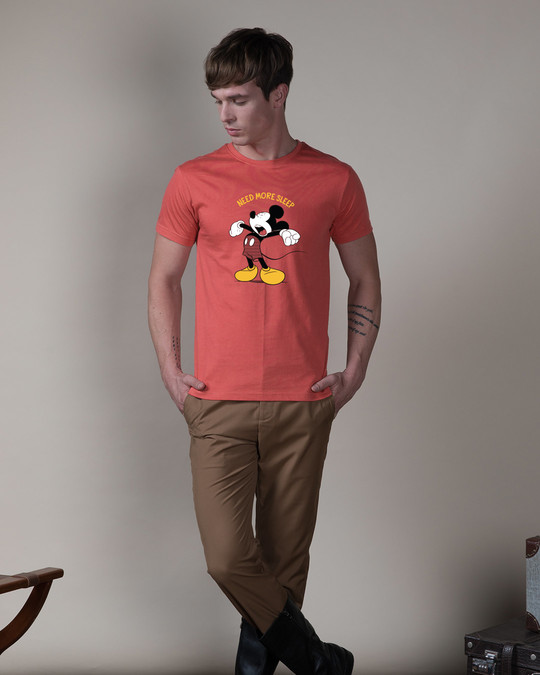 Shop Sleepy Mickey Half Sleeve T-Shirt (DL)-Design