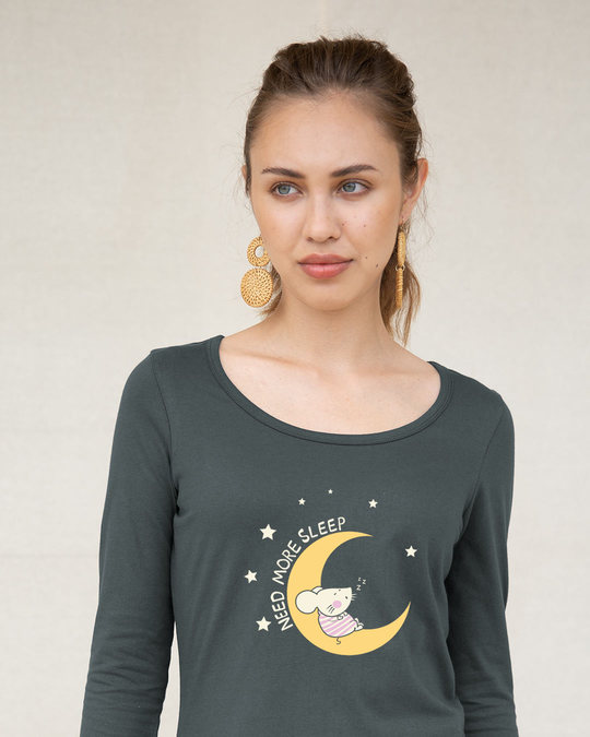 Shop Sleepy Mouse Scoop Neck Full Sleeve T-Shirt-Front