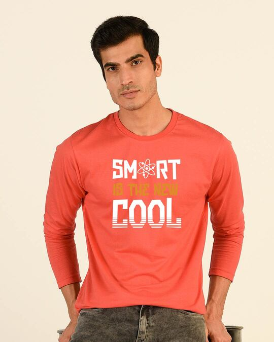 Shop Smart Is The New Cool Full Sleeve T-Shirt Smoke Red-Front