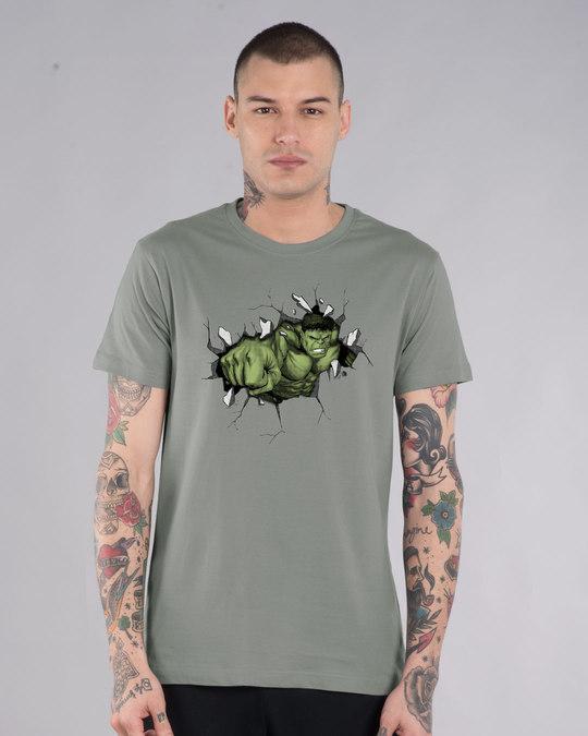 Shop Smash Hulk Half Sleeve T-Shirt (AVL)-Front