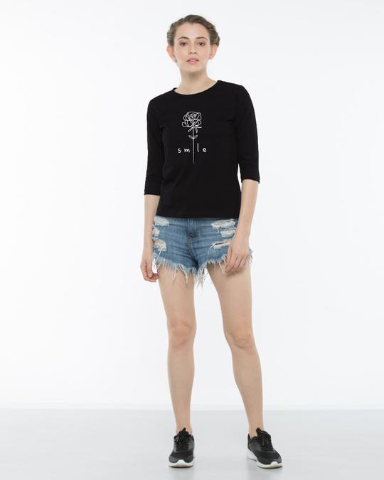 Shop Smile Flower Round Neck 3/4th Sleeve T-Shirt-Full