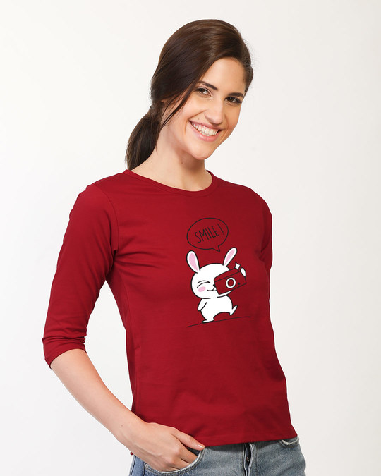 Shop Smile Please Round Neck 3/4th Sleeve T-Shirt-Back