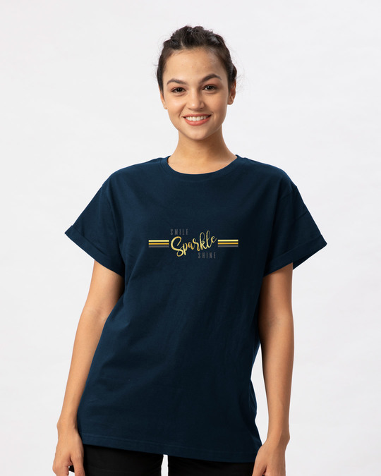 Shop Smile.sparkle.shine Boyfriend T-Shirt-Back
