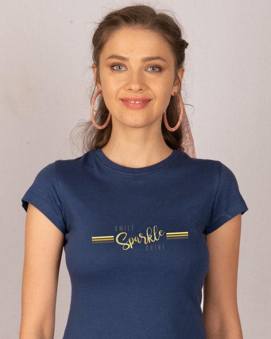 Shop Smile.sparkle.shine Half Sleeve T-Shirt-Front