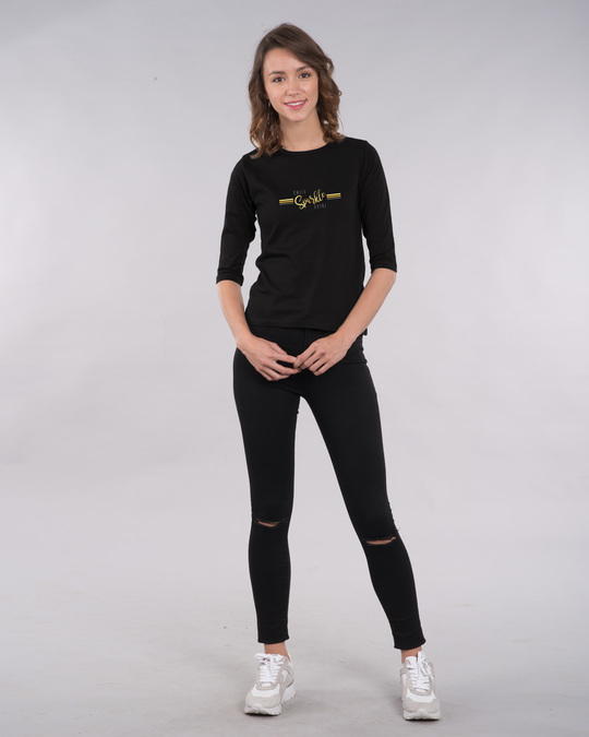 Shop Smile.sparkle.shine Round Neck 3/4th Sleeve T-Shirt