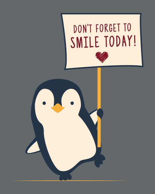 Shop Smile Today - Penguin Boyfriend T-Shirt Nimbus Grey-Full