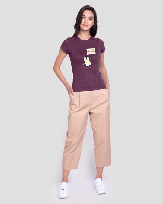 Shop Smile Today - Penguin Half Sleeve T-Shirt Deep Purple-Design