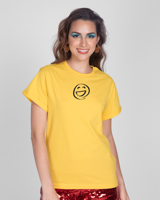 Shop Smiley Emoji Boyfriend T-Shirt-Front