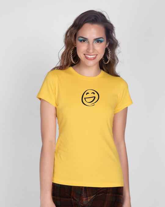 Shop Smiley Emoji Half Sleeve T-Shirt-Front