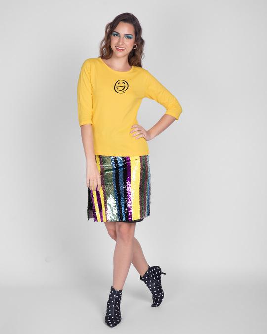 Shop Smiley Emoji Round Neck 3/4th Sleeve T-Shirt-Full