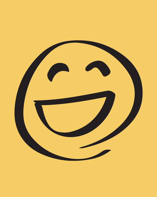 Shop Smiley Emoji Round Neck 3/4th Sleeve T-Shirt