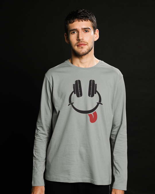 Shop Smiley Headphone Face Full Sleeve T-Shirt-Front