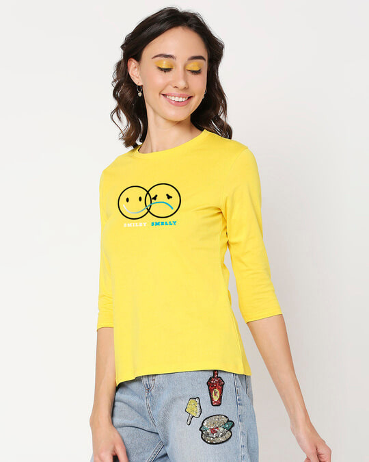 Shop Smiley Smelly 3/4th Sleeve T-Shirt-Back