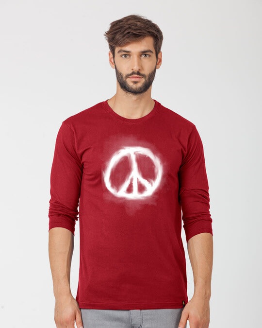 Shop Smoke Peace Full Sleeve T-Shirt-Front