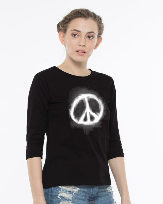 Shop Smoke Peace Round Neck 3/4th Sleeve T-Shirt-Back