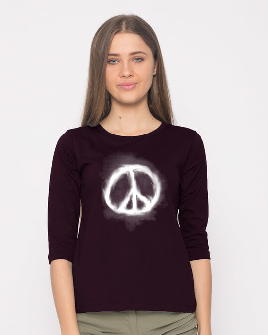Shop Smoke Peace Round Neck 3/4th Sleeve T-Shirt-Front