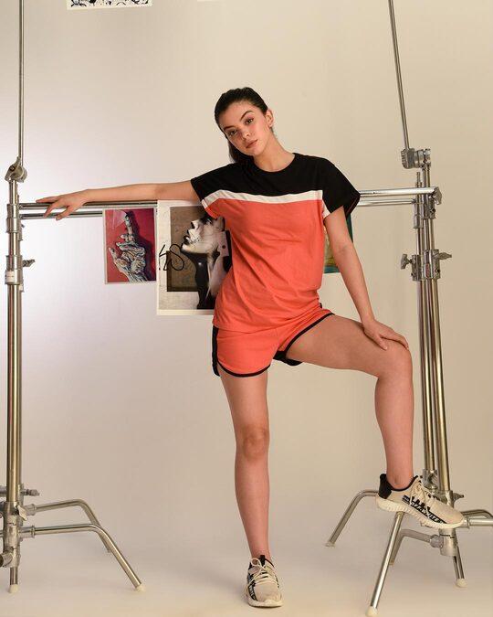 Shop Smoke Red 90's Vibe Asymmetric Three Panel Boyfriend T-Shirt-Front