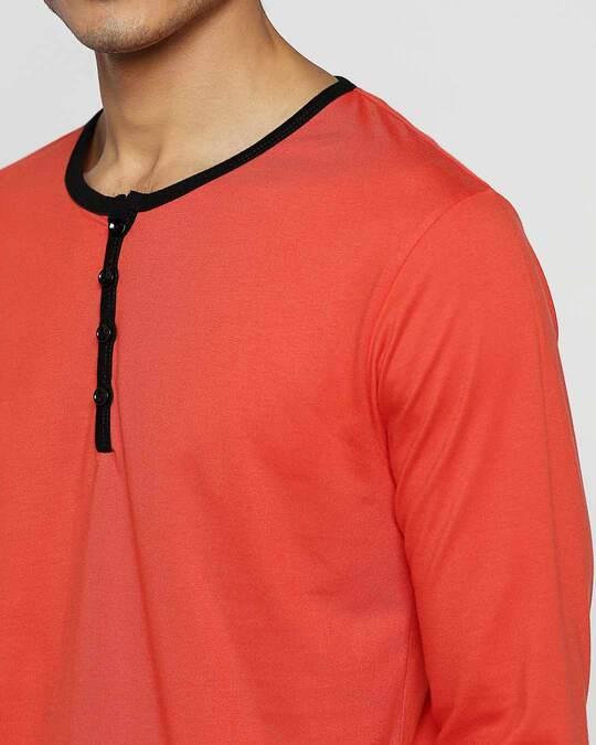 Shop Smoke Red Full Sleeve Henley T-Shirt